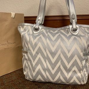 Silver and White Cole Haan Tote